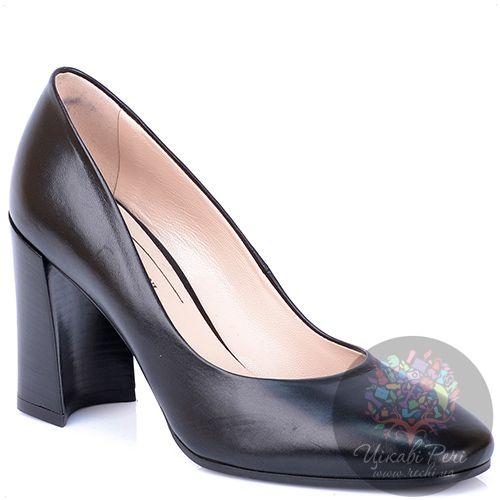 Туфли Giorgio Fabiani из черной кожи на модном приталенном каблуке, фото