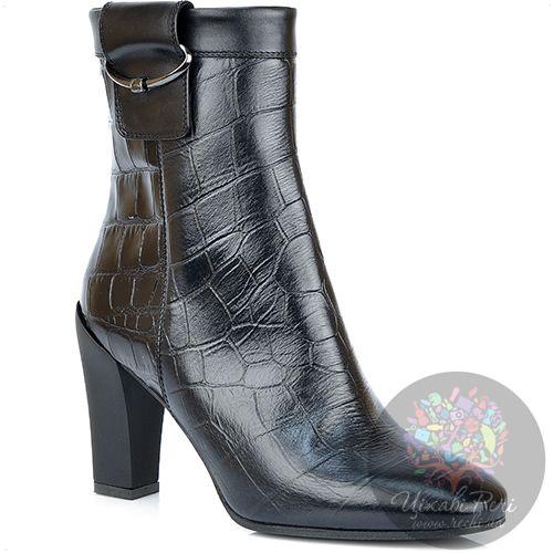 Ботинки Giorgio Fabiani с фактурой кожи крокодила осенние на среднем каблуке, фото