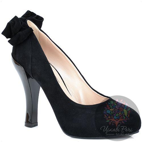 Туфли Giorgio Fabiani замшевые черные с бантом на талированном каблуке, фото