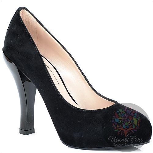 Туфли Giorgio Fabiani замшевые черные на талированном лаковом каблуке, фото