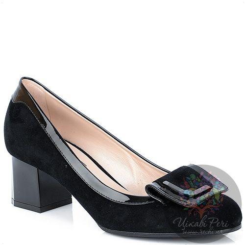 Туфли Giorgio Fabiani замшевые с лаковой отделкой на среднем каблуке, фото
