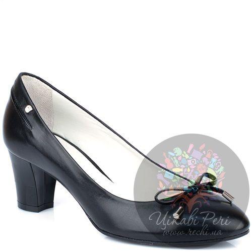 Туфли Giorgio Fabiani повседневные черные кожаные с бантиком, фото