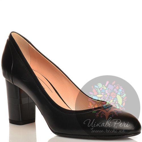 Туфли Giorgio Fabiani кожаные черные на среднем толстом каблучке, фото