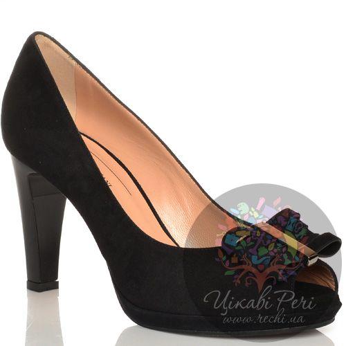 Туфли Giorgio Fabiani замшевые черные с открытым носком, фото