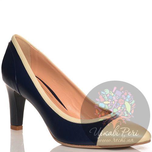 Туфли Giorgio Fabiani кожаные бежево-синие на среднем каблуке, фото