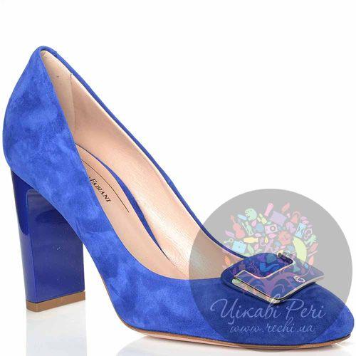 Туфли Giorgio Fabiani замшевые синие с элегантной пряжкой, фото