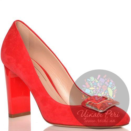 Туфли Giorgio Fabiani замшевые красные с элегантной пряжкой, фото