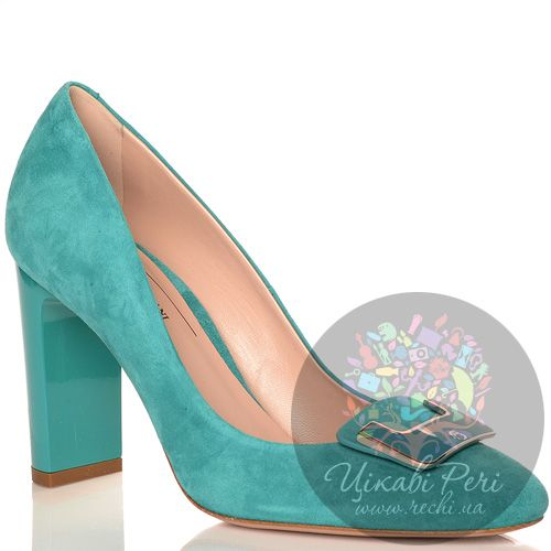 Туфли Giorgio Fabiani замшевые бирюзовые с элегантной пряжкой, фото