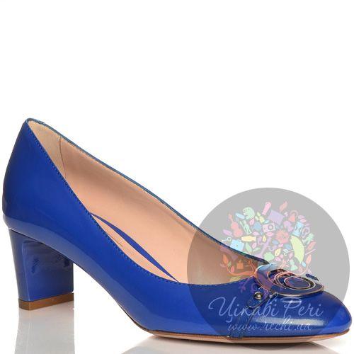 Туфли Giorgio Fabiani кожаные лаковые синие на низком каблучке, фото