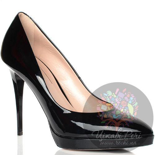 Туфли Giorgio Fabiani кожаные лаковые черные на шпильке, фото