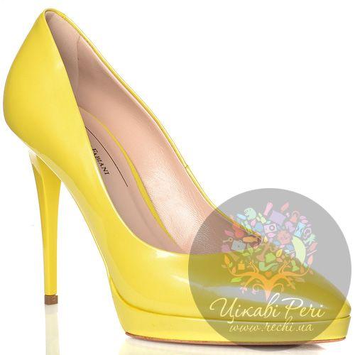 Туфли Giorgio Fabiani кожаные лаковые желтые на шпильке, фото