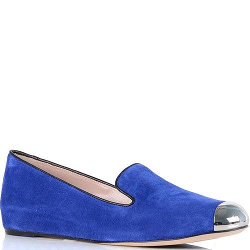 Женские туфли Giorgio Fabiani из синей замши с металлическим носком, фото
