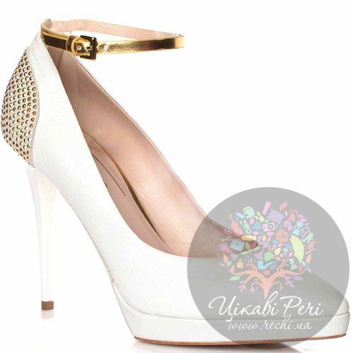 Туфли Giorgio Fabiani кожаные белые с золотисто-бронзовым ремешком из кожи и металлическим декором сзади и на подошве, фото