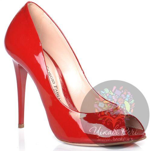 Туфли Giorgio Fabiani на шпильке красные лаковые с открытым носком, фото