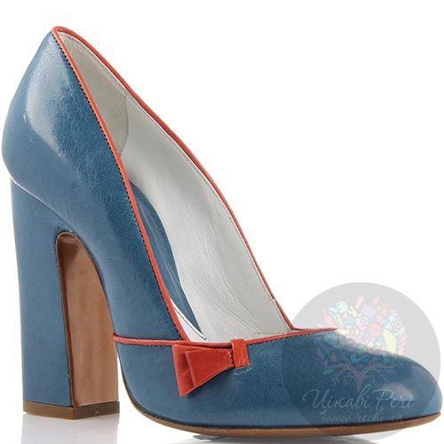 Кожаные туфли Giordano Torresi голубого цвета с красными вставками, фото