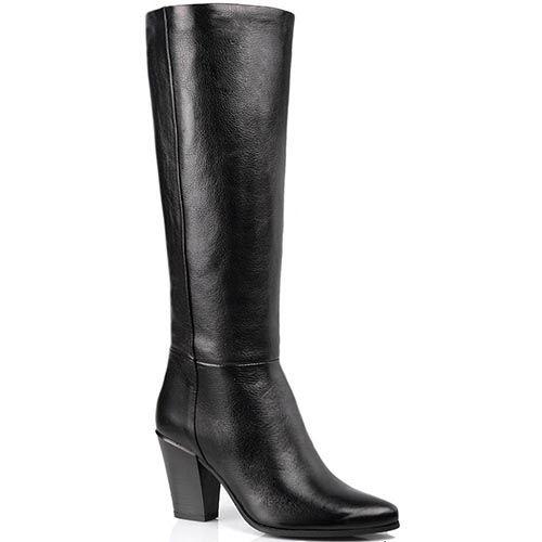Сапоги Cafe Noir Linea Glamour кожаные черные осенние на английском каблуке, фото