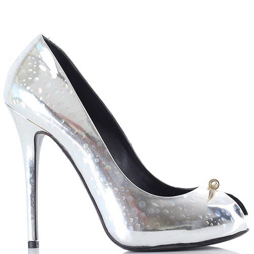 6ffacf2b9a19 Серебристые туфли-лодочки Rodolphe Menudier с голографическим эффектом, фото