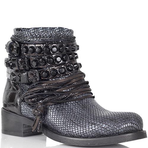 Кожаные ботинки Mimmu синего цвета с декором шнурками и заклепками, фото