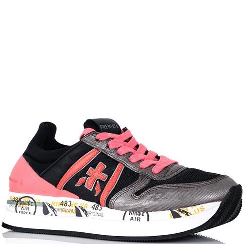 Кроссовки Premiata черные с розовыми вставками на толстой подошве, фото