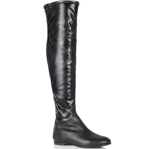 Кожаные ботфорты Loretta Pettinari черного цвета на низком каблуке, фото