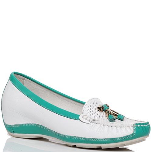Кожаные туфли белого цвета с голубыми деталями Francesco Valeri на платформе, фото
