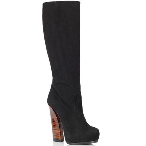 Замшевые сапоги Ballin черного цвета на высоком тигровом каблуке, фото