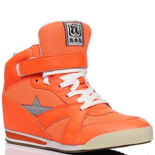 Сникерсы из кожи и текстиля оранжевого цвета ASH, фото