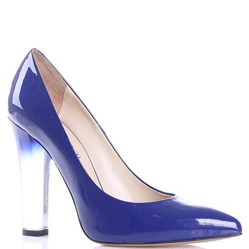 5424956bd6cb ☆ Синие туфли-лодочки Sofia Baldi с белым каблуком hkv-32353 купить ...