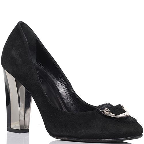 Замшевые туфли черного цвета ICONE на устойчивом каблуке, фото