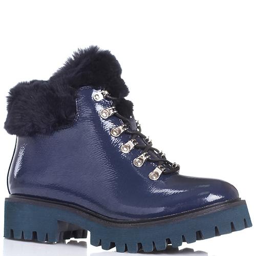 634e5eae6dcd ☆ Синие лаковые ботинки Massimo Santini на шнуровке с мехом hkv ...