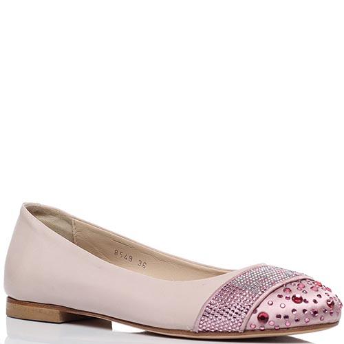 Балетки из кожи розового цвета Richmond с носочком из текстиля украшенным стразами, фото