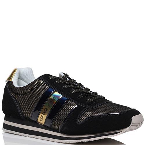 Кроссовки из лаковой кожи черного цвета Versace Jeans с золотистыми вставками из текстиля , фото