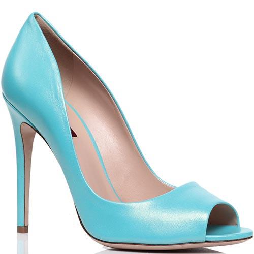 Туфли-лодочки с открытым носочком из кожи голубого цвета Violavinca, фото