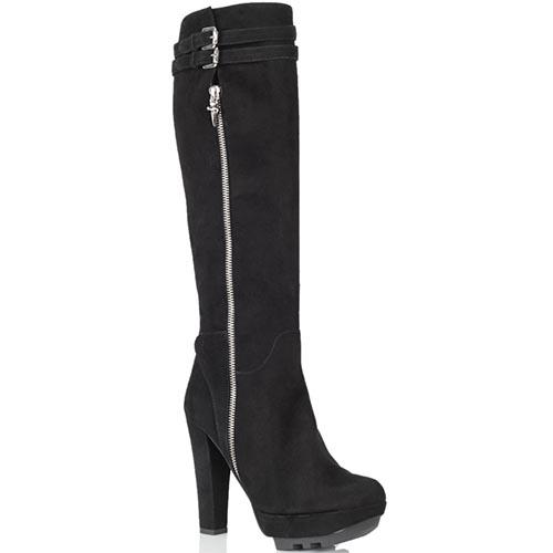 Замшевые сапоги Cesare Paciotti черного цвета на высоком каблуке, фото