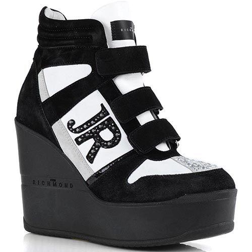 Ботинки John Richmond черно-серебристые на высокой платформе, фото