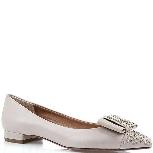 Женские туфли The Seller Julie Dee серо-бежевого цвета с острым носиком, фото