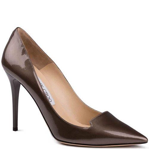 Туфли-лодочки Jimmy Choo лаковые коричневого цвета с блеском, фото