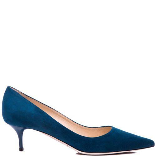 Туфли-лодочки Jimmy Choo замшевые синего цвета с глянцевым каблуком-шпилькой, фото