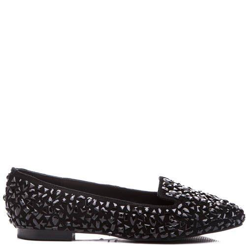 Слиперы Kandee черного цвета замшевые украшеные черными кристалликами, фото