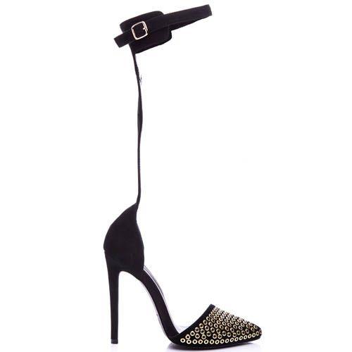 Туфли-лодочки Kandee замшевые черного цвета с ремешком обхватывающим голенище, фото