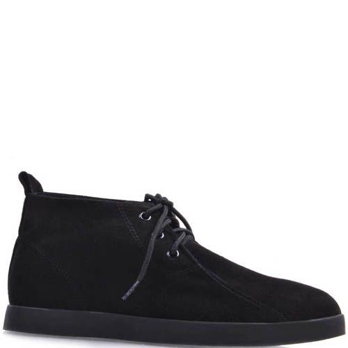 Ботинки Prego черного цвета замшевые на плоской подошве и со шнуровкой, фото