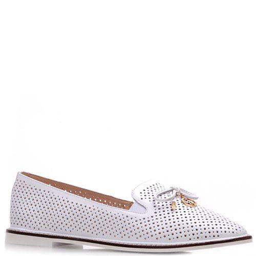 Туфли Prego из натуральной белой перфорированной кожи с бантиком, фото