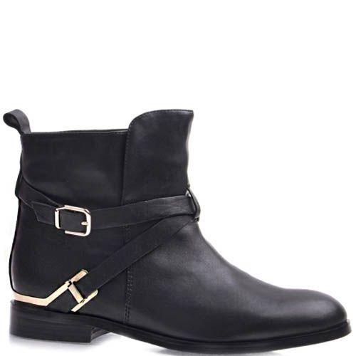 Ботинки Grado женские кожаные черного цвета с золотистыми пряжками, фото