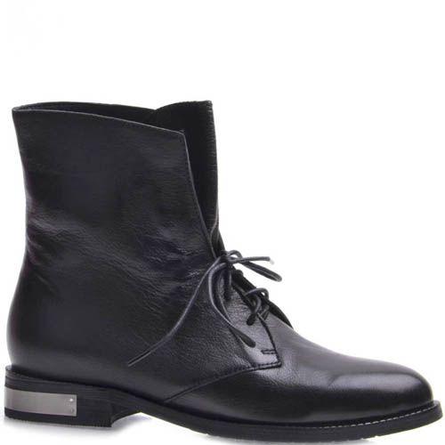 Ботинки Grado женские кожаные черного цвета с серебристой металлической вставкой на каблуке, фото