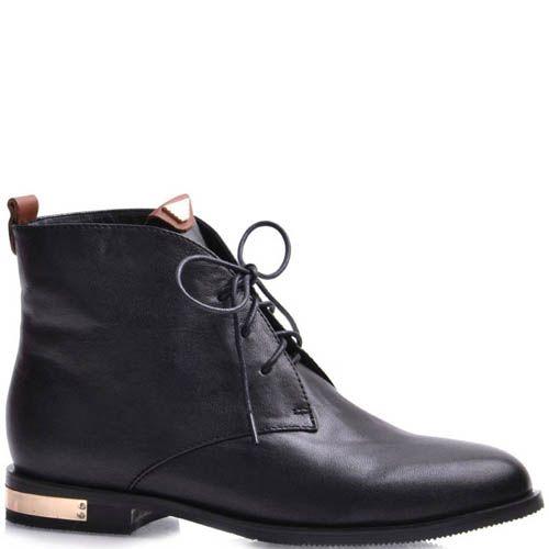 Ботинки Grado женские кожаные черного цвета с металлическим декора цвета красного золота, фото