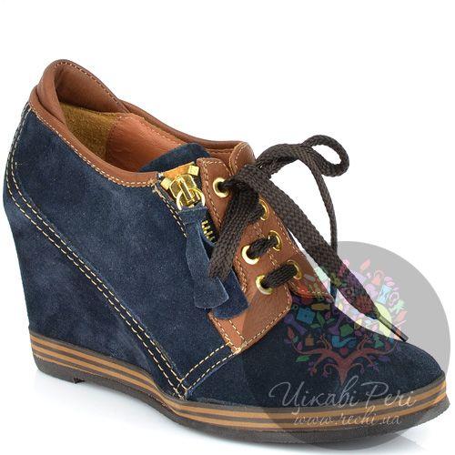 Ботильоны Lady Doc осенние синие замшевые на шнуровке, фото