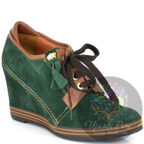 Ботильоны Lady Doc осенние зеленые замшевые на шнуровке, фото