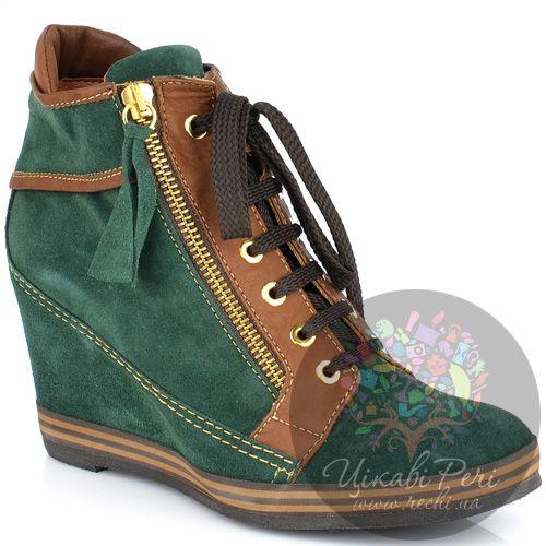 Ботинки Lady Doc на танкетке зеленые замшевые на шнуровке и молнии, фото
