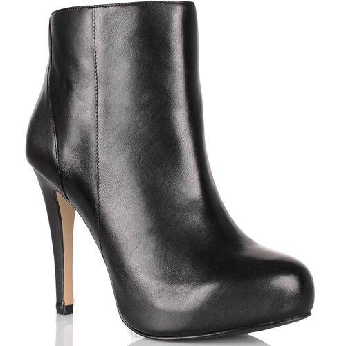 Ботильоны Cafe Noir Linea Glamour кожаные черные высокие на шпильке , фото