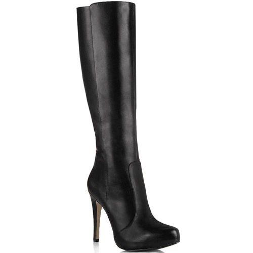 Сапоги на шпильке Cafe Noir Linea Glamour кожаные черные осенние, фото